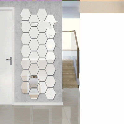 12pcs Acrylic Silver 3D Hexagonal Mirror Wall Stickers Home Decor Removable Hot