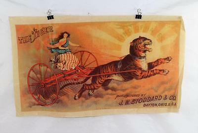 Rare Original Antique The Tiger King Of The Rakes Poster On Oil Cloth