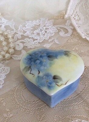 Heart-Shaped Box I Painted Delicate Blue Flowers Yellow Background 3 X …