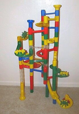 Marble Run Lot of 75+ Pieces Track Race Maze MindWare & Others Includes Marbles
