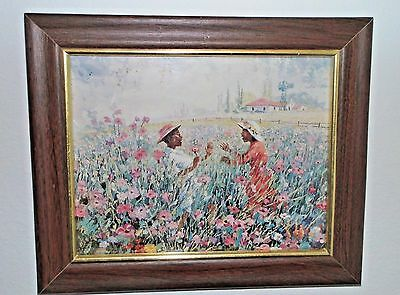 "African American Fine Art Print: Two Girls in Field of Pink Flowers 12""x10"""