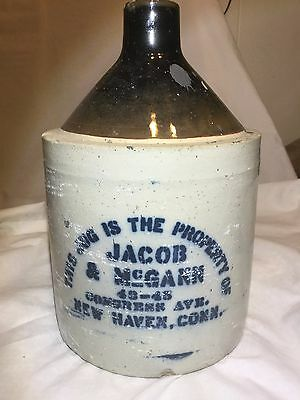 Antique Jacob& Mcgann Whiskey Jug. New Haven Ct. 43-45 Congress Ave.