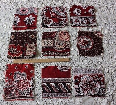 9 French Turkey Red & Madder Cotton Bandana Fabric Samples c1860-1870~Quilters
