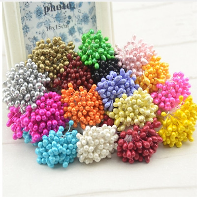 120pcs 5mm Mini Pearl Stamen Artificial Flower Pompom Wreath Fake Flowers