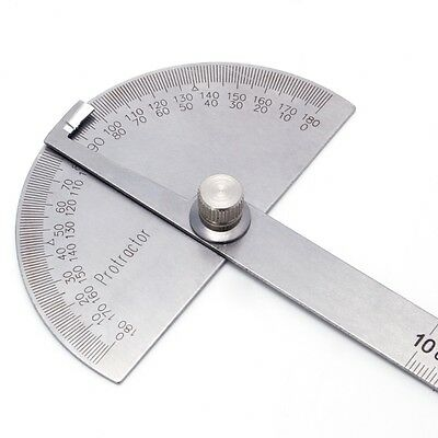 10cm 180° Round Head Protractor Angle Finder Stainless Steel Measuring Ruler