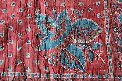 Antique French Cotton Block Print Turkey Red Half Bandana c1790-1820~Fragile