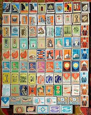 Large Collection Of Rare Matchbox USSR With Original Matches 1950-1991s - 93 pcs
