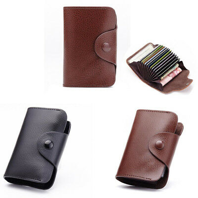 Genuine Leather Wallet Blocking Pocket Holder Credit Card Case-Men Women