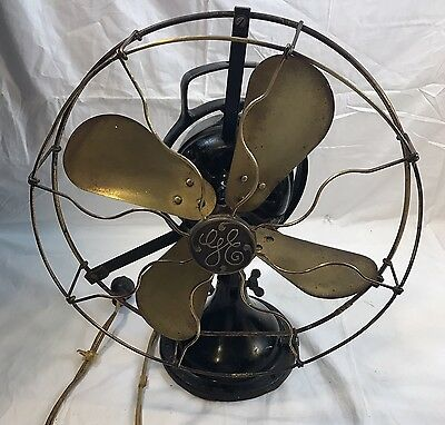 "Nice! Vintage 1900s GE General Electric 12"" brass fan. 3 speed 13x18 Works"