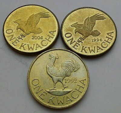 Malawi 1 Kwacha 1992,1996,2004. KM#20,28,65. One dollar coin. Rooster,Fish Eagle