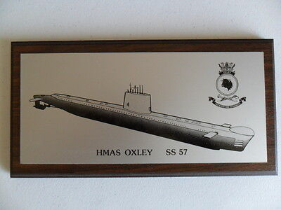 Naval HMAS OXLEY (SS57) 1980s metal plaque