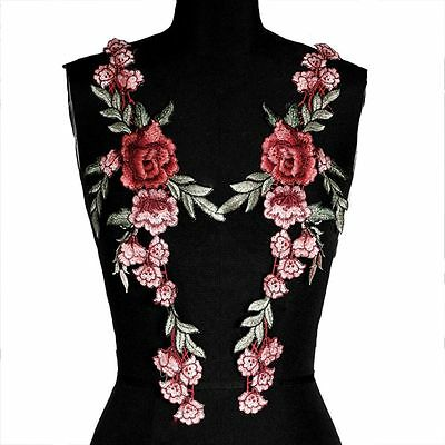 2pcs Dress DIY Crafts Badge Flower Patch Embroidery Appliques Sewing