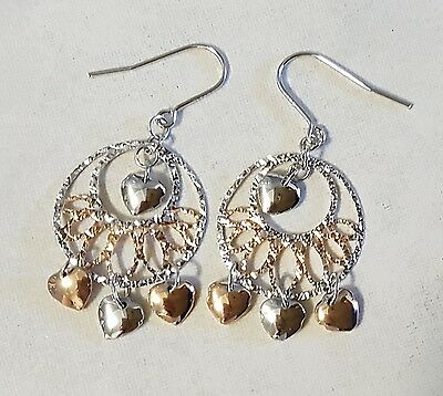 Silver & Rose Gold Hearts Droplet Earrings
