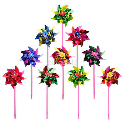 10Pcs Plastic Windmill Pinwheel Wind Spinner Kids Toy Lawn Garden Party Decor AU