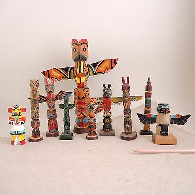 Lot Vintage Carved Wood Totem Pole Pacific Northwest Native American Painted