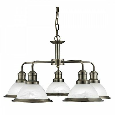 Searchlight Bistro Retro 5 Light Ceiling Pendant Light in Antique Brass 1595-5AB