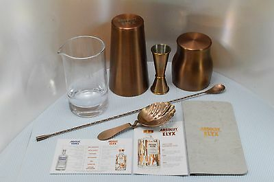 Rare Absolut Elyx Copper Shaker Jigger Julep Strainer Stir Spoon Mixing Glass