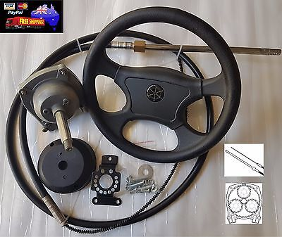 13FT Planetary Gear Outboard Marine Steering Helm With Boat Steering Cable Wheel