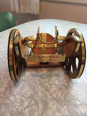 Vintage Courvoisier Wooden/Brass Cannon Shaped Cognac Bottle Holder