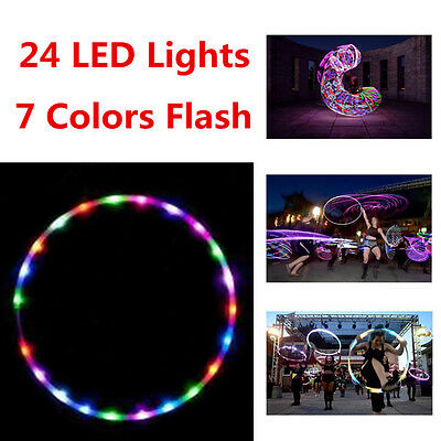 Colorful LED Light Flash HuLa Hoop Fitness Sports GYM Workout Exercisers 90cm