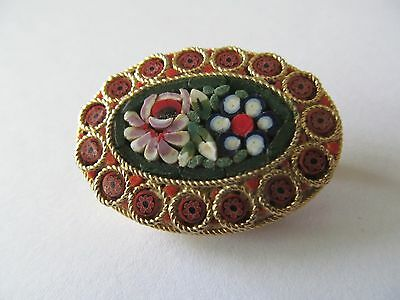 Vintage Wide Italian Micro Mosaic Mulit-Color Tones Designed Gold Brooch Pin