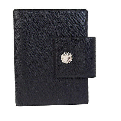 Authentic BVLGARI Logos Agenda Day Planner Cover Leather Black Italy 09V1005