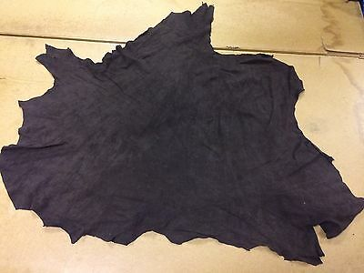 6 Sq Ft Dark Brown Split Suede Calf Genuine Leather Skin / Hide