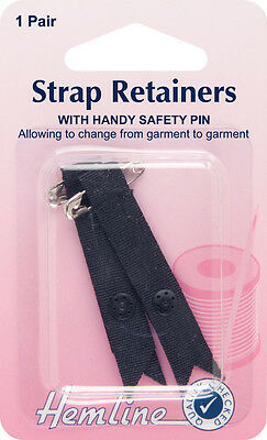 Shoulder Strap Retainer with Safety Pin Black. Keeps garment/ bra strap in place
