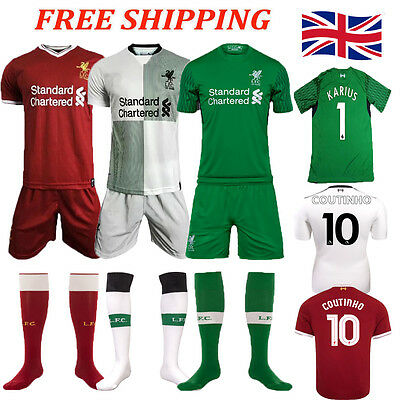 2017/18 Home Away Goalkeeper Kit Football Soccer Short Sleeve for 3-14Y Kids Boy