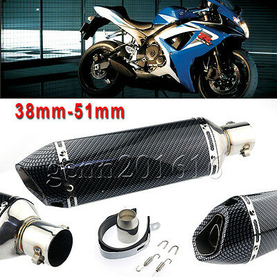 Aluminum 38-51mm Motorbike Carbon Fiber Exhaust Muffler Pipe Removable Silencer