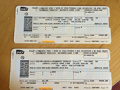 BILLET TRAIN CHAMBERY-PARIS 5 aout 2017