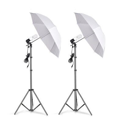 2X 135W Studio Photography Continuous Umbrella Light Stand Bulb Lamp Kit CY