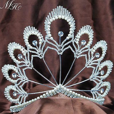 "Awesome Pageant Tiara 5.5"" Headband Pearl Crystal Wedding Bridal Hair Crown New"