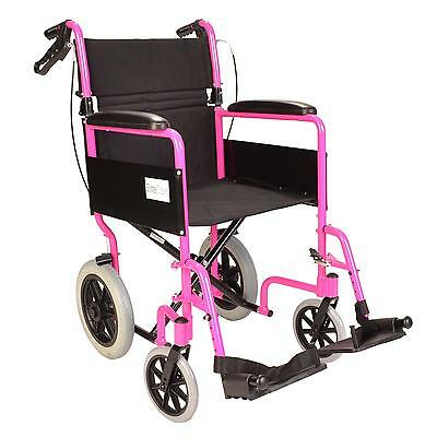Lightweight folding Transit aluminium pink wheelchair attendant handbrakes used