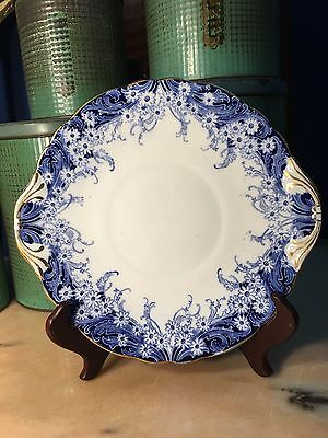 Beautiful c1900's Antique English Royal Dolton Blue & White Cake Sandwich Plate