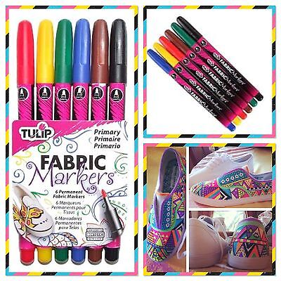 NEW  Pen Permanent Fabric Markers:Tulip 6 Colour Pack-Shirts/Bags/Craft