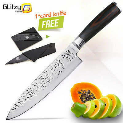 Kitchen Knife 8 inch Chef Knives Japanese Stainless Steel Meat  Knife Pakka Wood