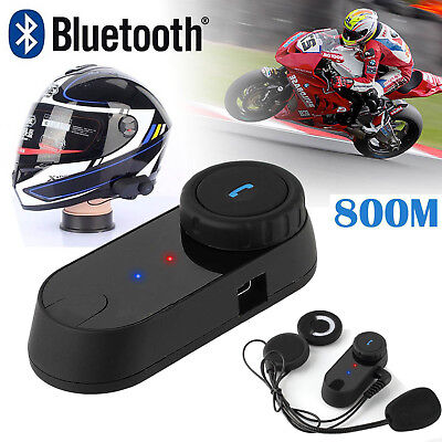 800M BT Interphone Motorcycle Motorbike Bluetooth Helmet Intercom FM Headset UK