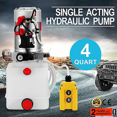 3 Quart Single Acting Hydraulic Pump Dump Trailer 12 Volt Remote Unit Pack