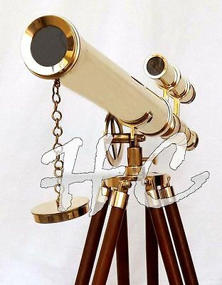 """Marine Nautical Navy Brass Double Barrel Telescope 18"""" With Wooden Tripod Stand"""