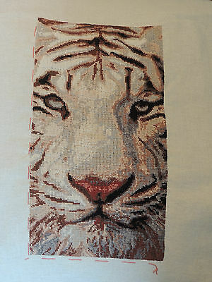 Handmade completed white tiger cross stitch picture