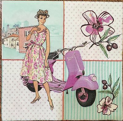 2 single paper napkins for decoupage scrapbooking craft or collection Retro Girl