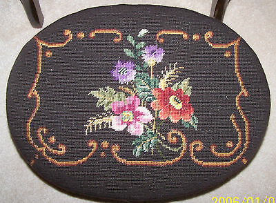 Antique Needlepoint Oval footstool