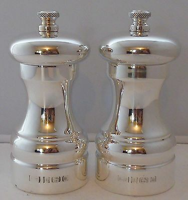 Solid Hallmarked Silver Cruet Set  Salt and Pepper Grinders  Peter Piper Mills