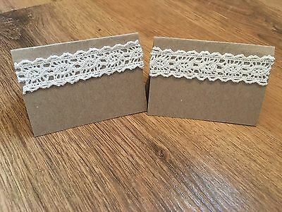 50 X Blank Wedding Place Name Cards Brown Kraft Card With Lace Detail Vintage