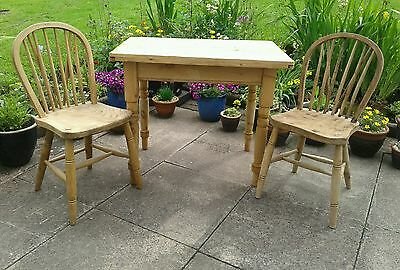 Antique Pine Farmhouse Small Kitchen Table & Chairs