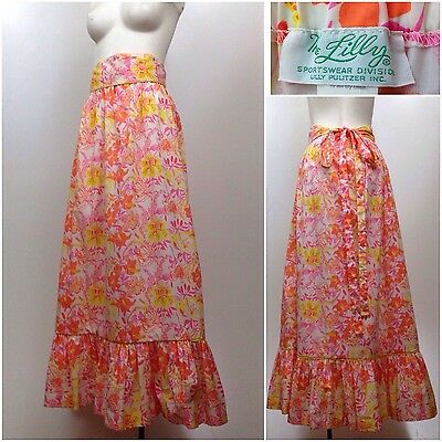 Vintage 60s Lilly Pullitzer Pink Floral Cotton A Line Belted Tiered Maxi Skirt M