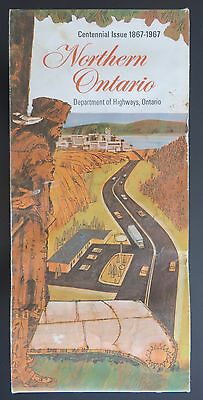 Illustrated Travel Map of Northern Ontario - 1967 - Canada's Centennial year
