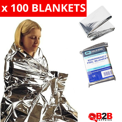 100 x LARGE FOIL Emergency BLANKET Accident Thermal First Aid Wholesale Bulk
