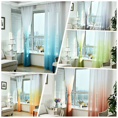 Colorful Door Window Curtain Gradient Tulle Voile Drape Panel Sheer Valance 2.7m